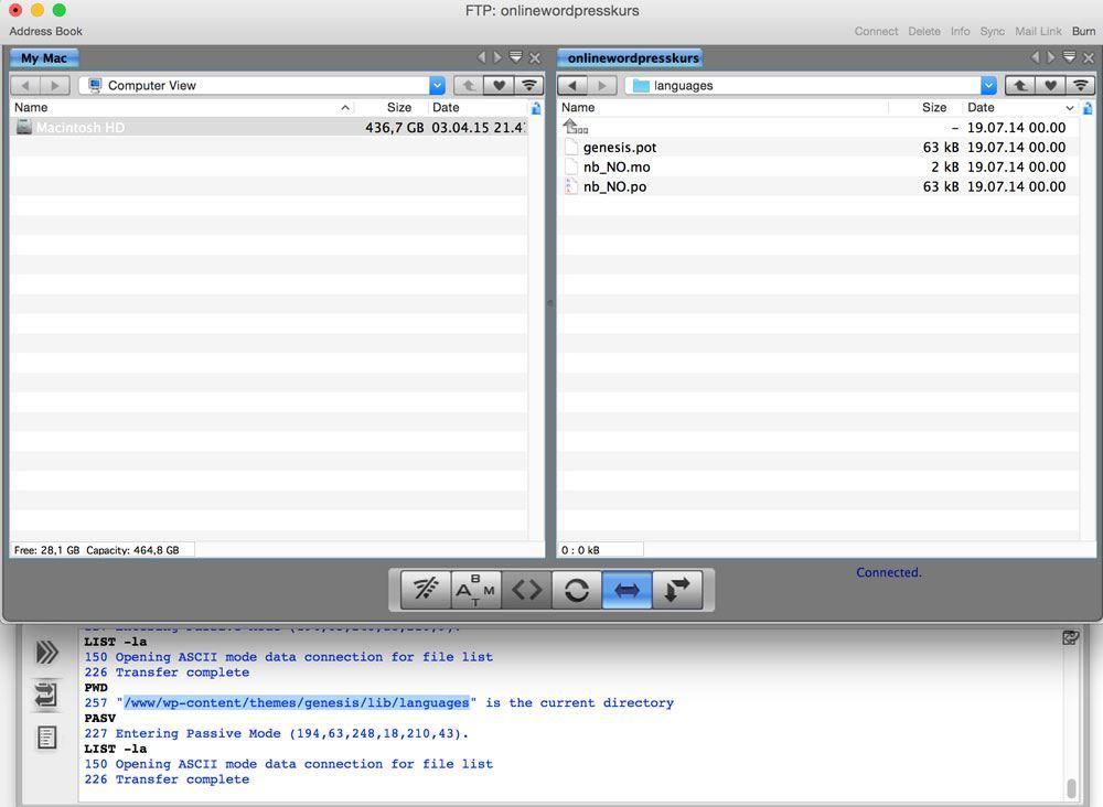 Bilde som viser språkfiler i Captain FTP
