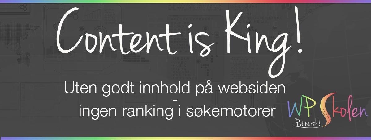 Uten godt innhold på websiden, ingen ranking i søkemotorer!