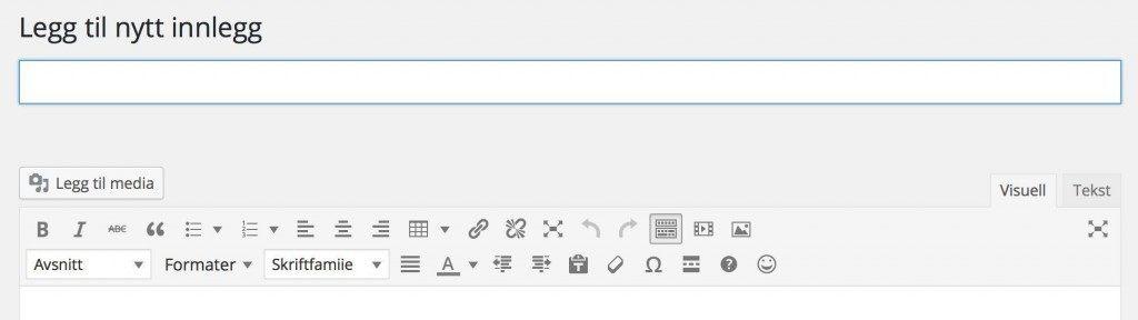 Editor på innlegg og sider