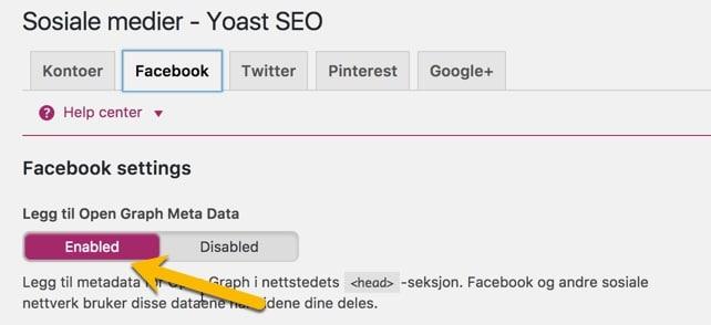 Aktiver Facebook Open Graph innstillinger i Yoast SEO