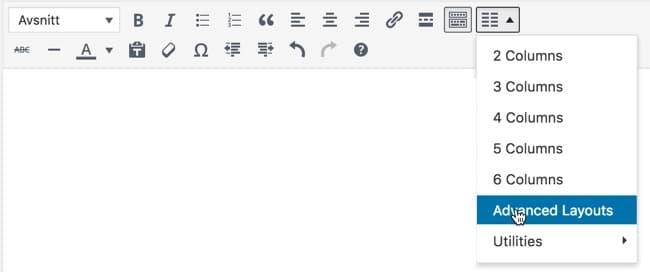 Du setter inn kolonnene fra den visuelle editoren