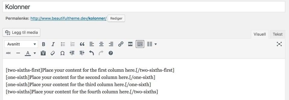 Kolonner slik de vises i den visuelle editoren