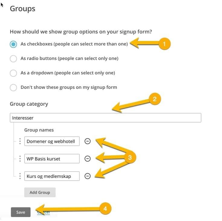 Bruk disse valgene for å opprette flere grupper