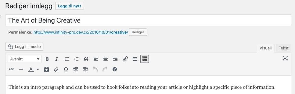 Klassisk redigeringsverktøy i WordPress