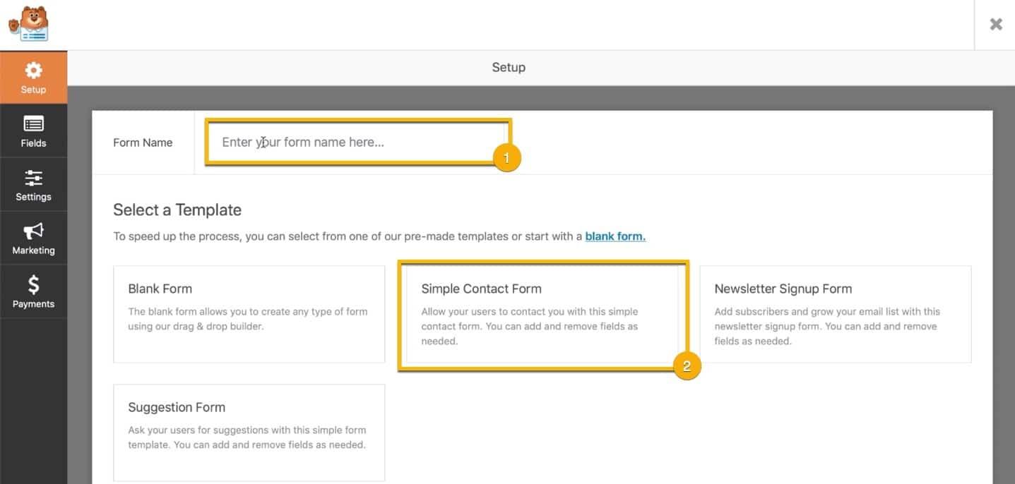 Kontaktskjema med WP Forms