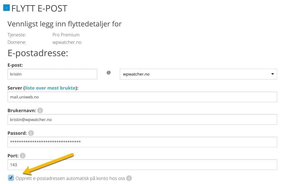 Flytte e-post kontoer