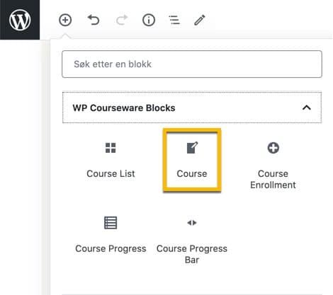 WP Courseware blokker - brukes til å sette opp nettkurs.