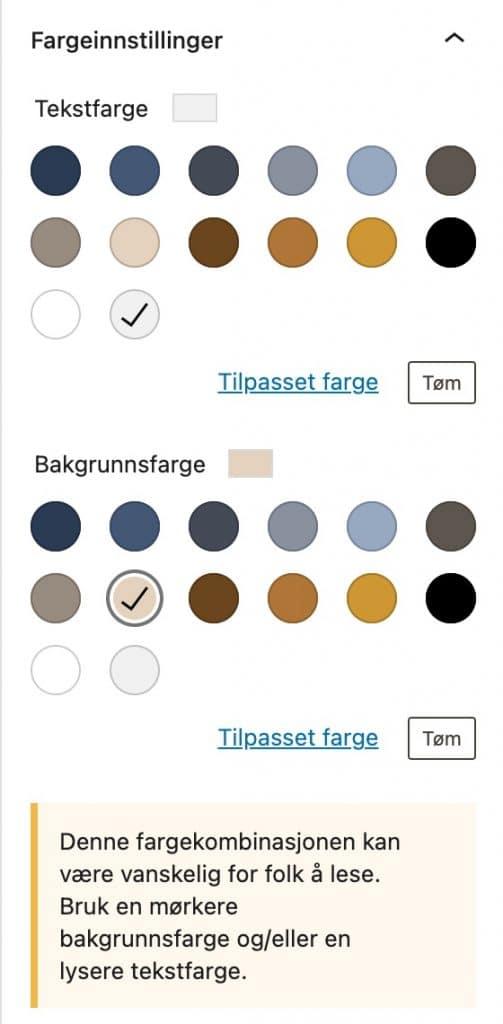 Eksempel som viser hvordan WordPress gir et varsel om for dårlig kontrast mellom tekst og bakgrunnsfarge.