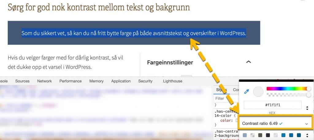 Eksempel på kontrastsjekk ved inspisering av kode i Chrome