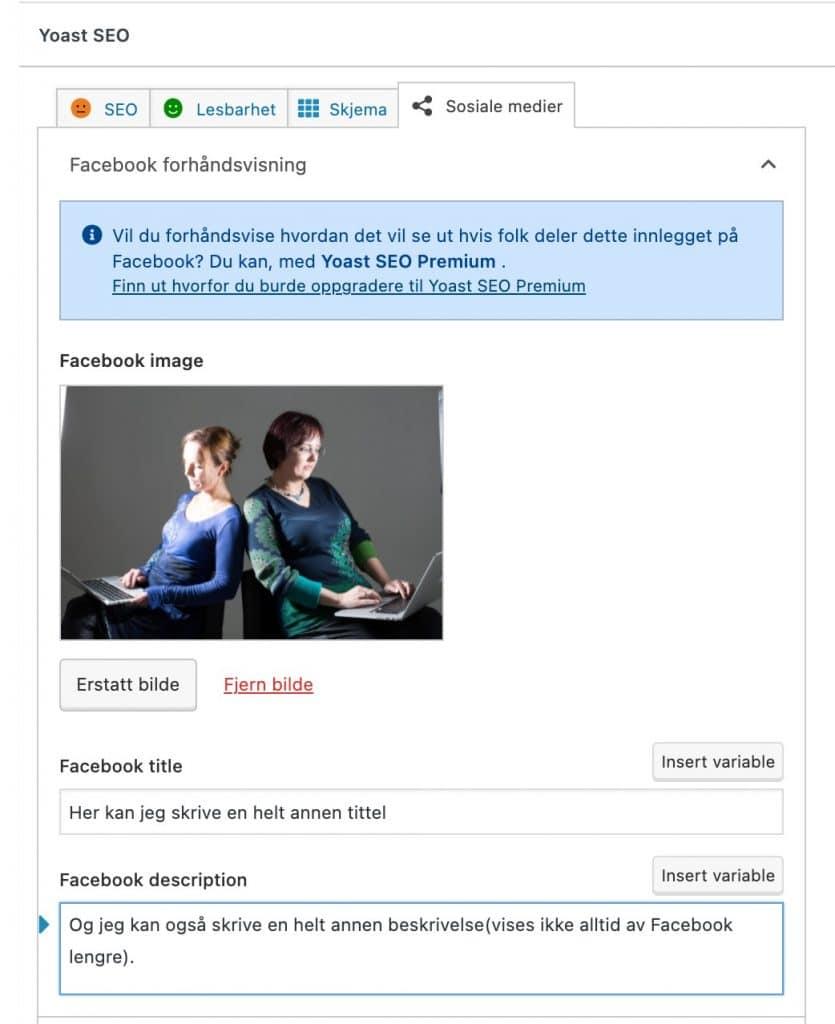 """Klikk på """"Sosiale medier"""" fanen for å få opp muligheten til å legge inn bilde, tittel og tekst for Facebook."""
